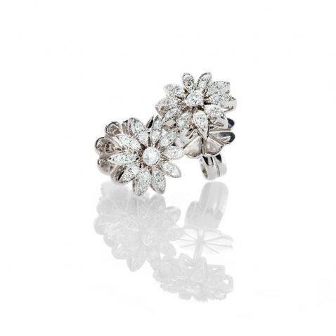 Heidi Kjeldsen Pretty Diamond And 18ct White Gold Flower Design Earrings - ER2077-2
