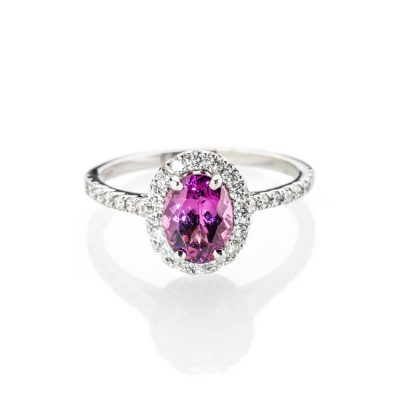 Heidi Kjeldsen Pretty In Pink Rhodolite Garnet And Diamond Cluster Ring In Platinum R1294