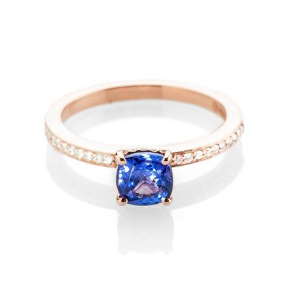 Heidi Kjeldsen Pretty Tanzanite And Diamond Cluster Ring In 18ct Rose Gold R1292