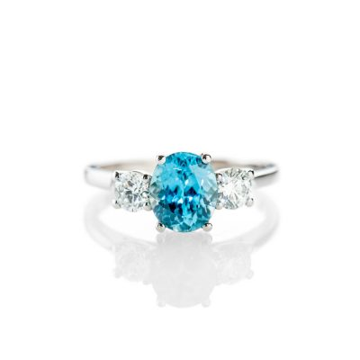Heidi Kjeldsen Rare And Eye Catching Natural Blue Zircon and Diamond Platinum Ring - R1237-1