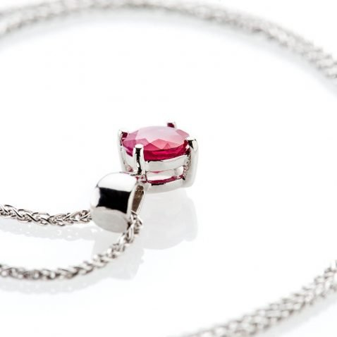 Heidi Kjeldsen Ravishing Red Ruby Pendant 9ct White Gold - P1201+W9SP182-3