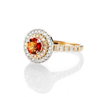 Heidi Kjeldsen Rich Madeira Citrine And Diamond Cluster Ring In 18ct Yellow and White Gold R1280 1