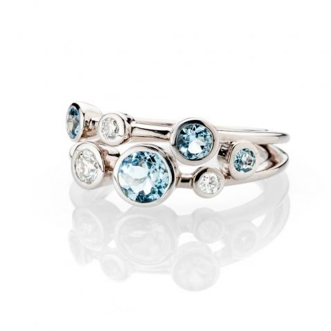 Heidi Kjeldsen Simply Chic Aquamarine And Diamond Bubble Ring In 18ct White Gold R1279