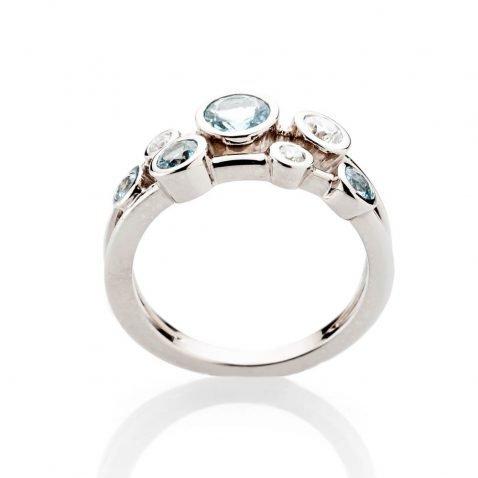 Heidi Kjeldsen Simply Chic Aquamarine And Diamond Bubble Ring In 18ct White Gold R1279