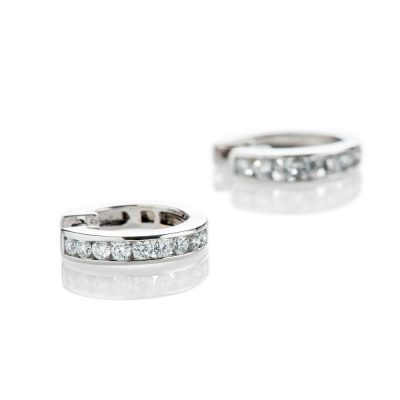 Heidi Kjeldsen Sparkling Diamond Hoop 18ct White Gold Earrings ER2331-1