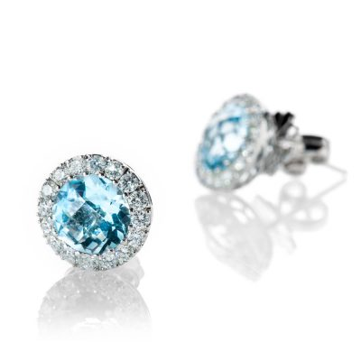 Heidi Kjeldsen Striking Blue Topaz And Diamond 18ct White Gold Earrings - ER2076-1