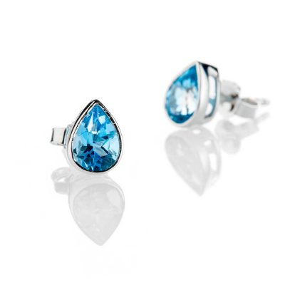 Heidi Kjeldsen Striking Pear Shaped Blue Topaz And 9ct White Gold Earrings - ER2303-1