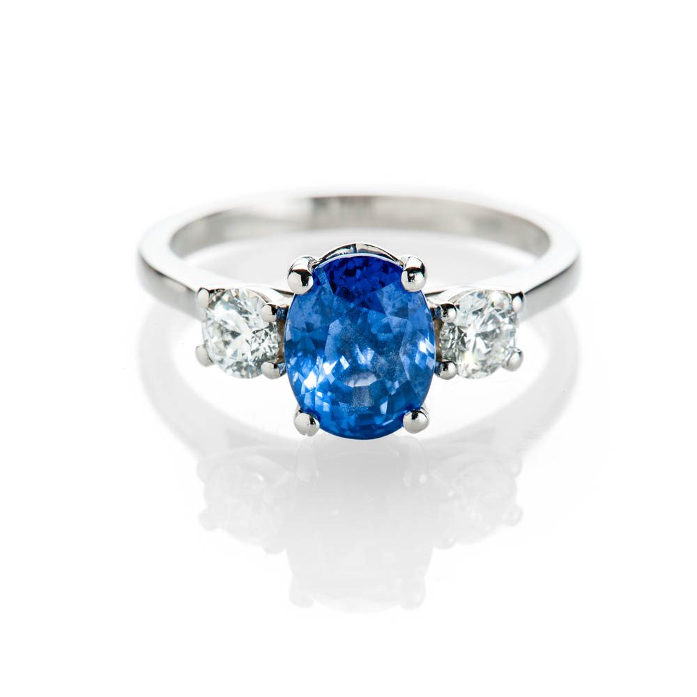Heidi Kjeldsen Stunning Natural Certificated Unheated Ceylon Sapphire Diamond And Platinum Ring R1239