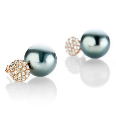 Heidi Kjeldsen Stunning Tahitian Pearl And Diamond I8ct Rose Gold Earrings ER915-1