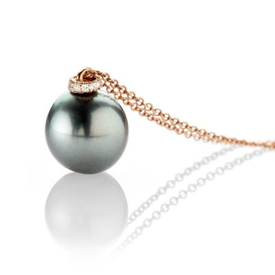 Heidi Kjeldsen Stunning Tahitian Pearl And Diamond 18ct Rose Gold Pendant - P1112-2