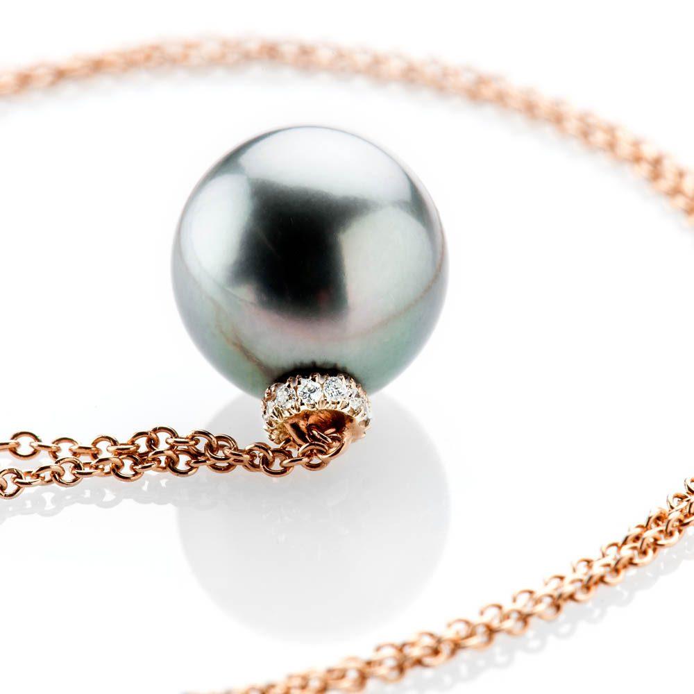 Heidi Kjeldsen Stunning Tahitian Pearl And Diamond 18ct Rose Gold Pendant - P1112-3