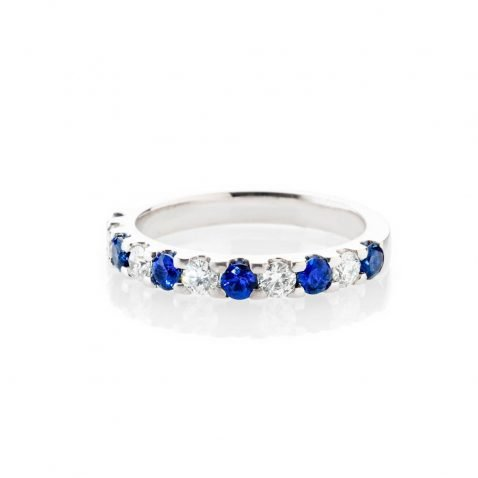 Heidi Kjeldsen Stunning Top Ceylon Royal Blue Sapphire And Diamond Eternity Ring In 18ct White Gold R1282