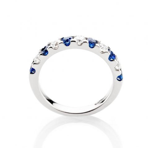 Heidi Kjeldsen Stunning Top Ceylon Royal Blue Sapphire And Diamond Eternity Ring In 18ct White Gold R1282-2