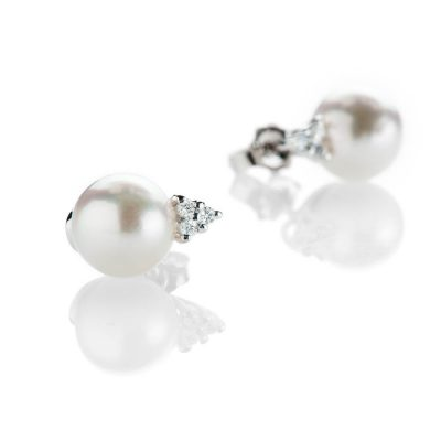 Heidi Kjeldsen Stylish Akoya Pearl And Diamond Trefoil 18ct White Gold Earrings - ER2213-1
