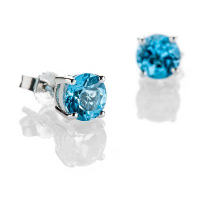 Heidi Kjeldsen Stylish Swiss Blue Topaz Earrings And 9ct White Gold ER2304-1