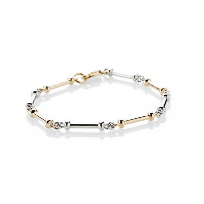 Heidi Kjeldsen Sumptuous And Stylish Handmade 9ct Yellow And White Gold Bar Bracelet - BL1274-1