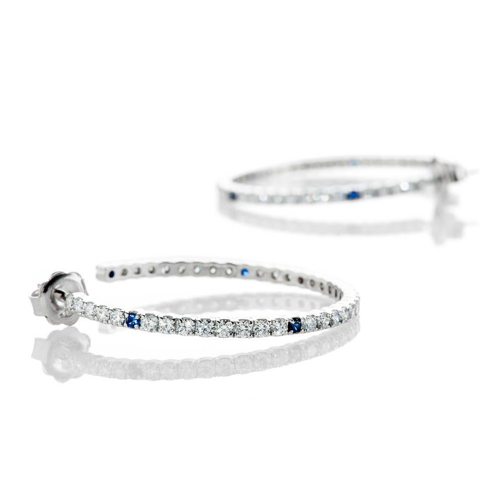 Heidi Kjeldsen Unique Top Ceylon Royal Blue Sapphire And Diamond Hooped Earrings In 18ct White Gold - ER2210-1