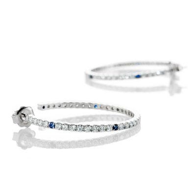 Heidi Kjeldsen Unique Top Ceylon Royal Blue Sapphire And Diamond Hooped Earrings In 18ct White Gold - ER2210-1