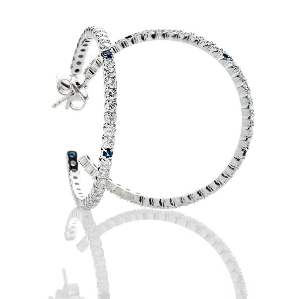 Heidi Kjeldsen Unique Top Ceylon Royal Blue Sapphire And Diamond Hooped Earrings In 18ct White Gold - ER2210-2