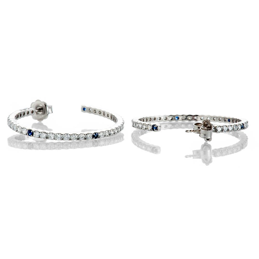 Heidi Kjeldsen Unique Top Ceylon Royal Blue Sapphire And Diamond Hooped Earrings In 18ct White Gold - ER2210-3