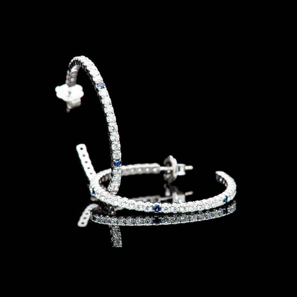 Heidi Kjeldsen Unique Top Ceylon Royal Blue Sapphire And Diamond Hooped Earrings In 18ct White Gold - ER2210-4