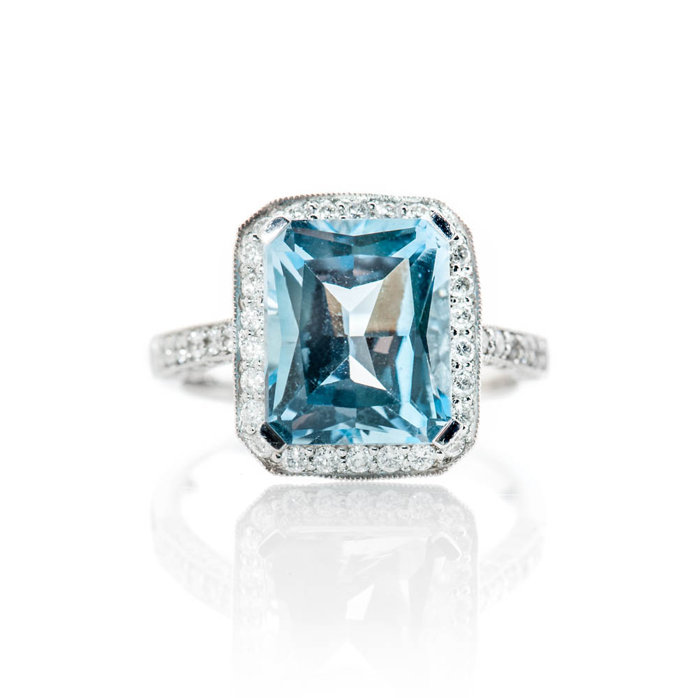 Alluring Enhanced Blue Natural Topaz, Brilliant Cut Diamond And Gold Cocktail Or Dress Ring