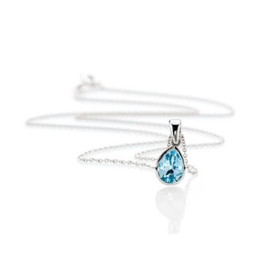 Heidi Kjeldsen Beautiful Sky Blue Enhanced Natural Topaz And Gold Pendant - P1236 + W9TR181.8-1a