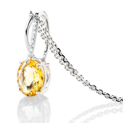 Heidi Kjeldsen Beautiful Yellow Natural Citrine Brillant Cut Diamond And Gold Pendant - P1232-2