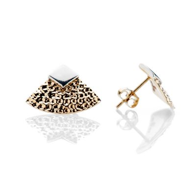 Heidi Kjeldsen Contemporary Gold And Sterling Silver Hammered Earstuds - ER921-2