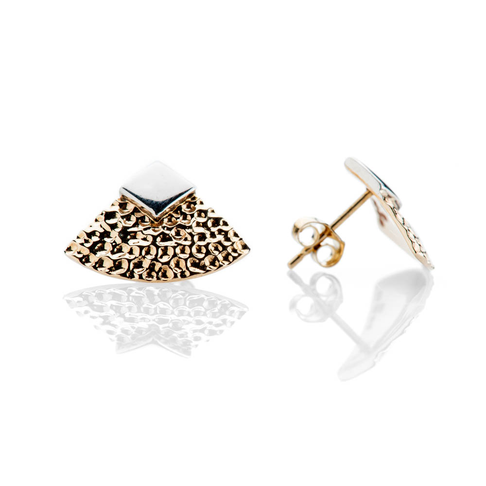 Contemporary Gold And Sterling Silver Hammered Earstuds