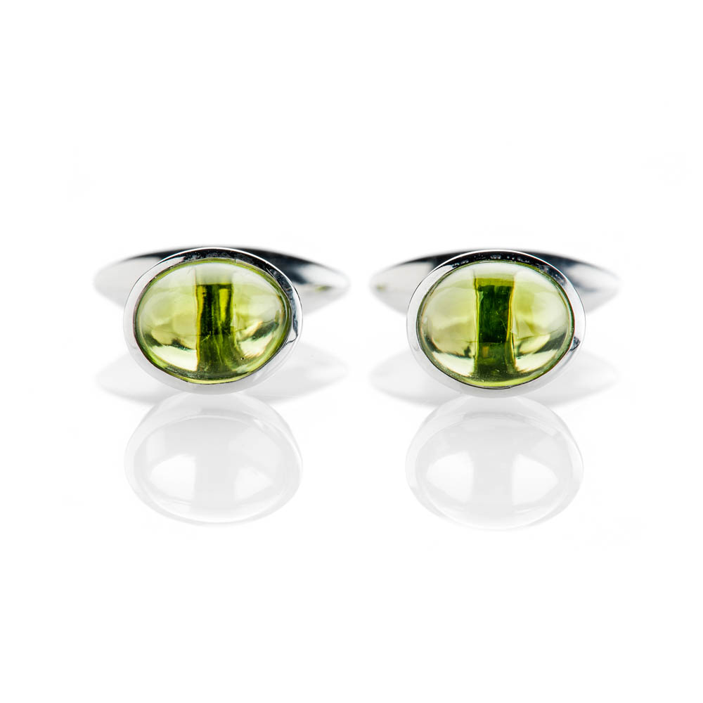 Contemporary Green Natural Peridot And Sterling Silver Cufflinks
