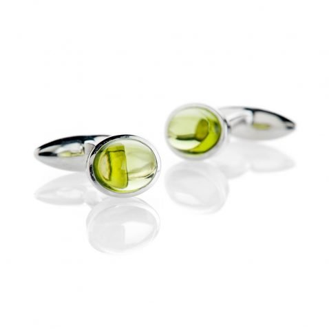 Heidi Kjeldsen Contemporary Green Natural Peridot And Sterling Silver Cufflinks - CL286-2