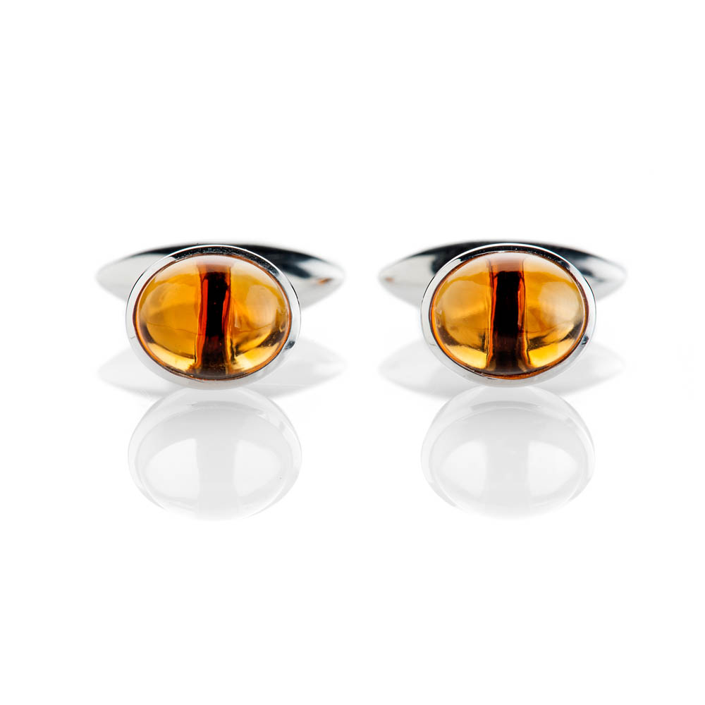 Contemporary Warm Yellow Natural Citrine And Sterling Silver Cufflinks