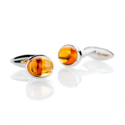 Heidi Kjeldsen Contemporary Warm Yellow Natural Citrine And Sterling Silver Cufflinks - CL287-2