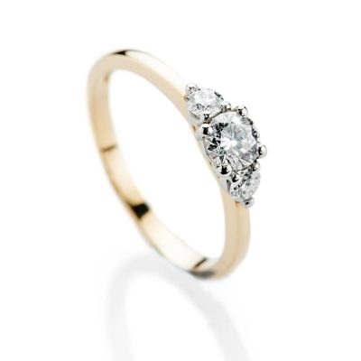 Heidi Kjeldsen Elegant Brilliant Cut Natural Diamond Platinum And Gold Engagement Trilogy Ring - R1321-2