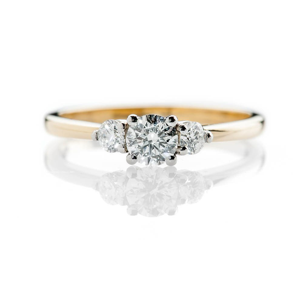 Heidi Kjeldsen Elegant Brilliant Cut Natural Diamond Platinum And Gold Engagement Trilogy Ring - R1321-3