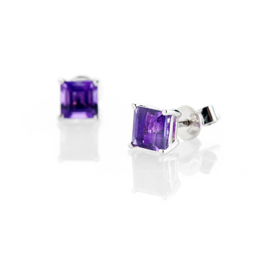 Heidi Kjeldsen Elegant Natural Square Amethyst And Gold Earstuds - ER1711-1