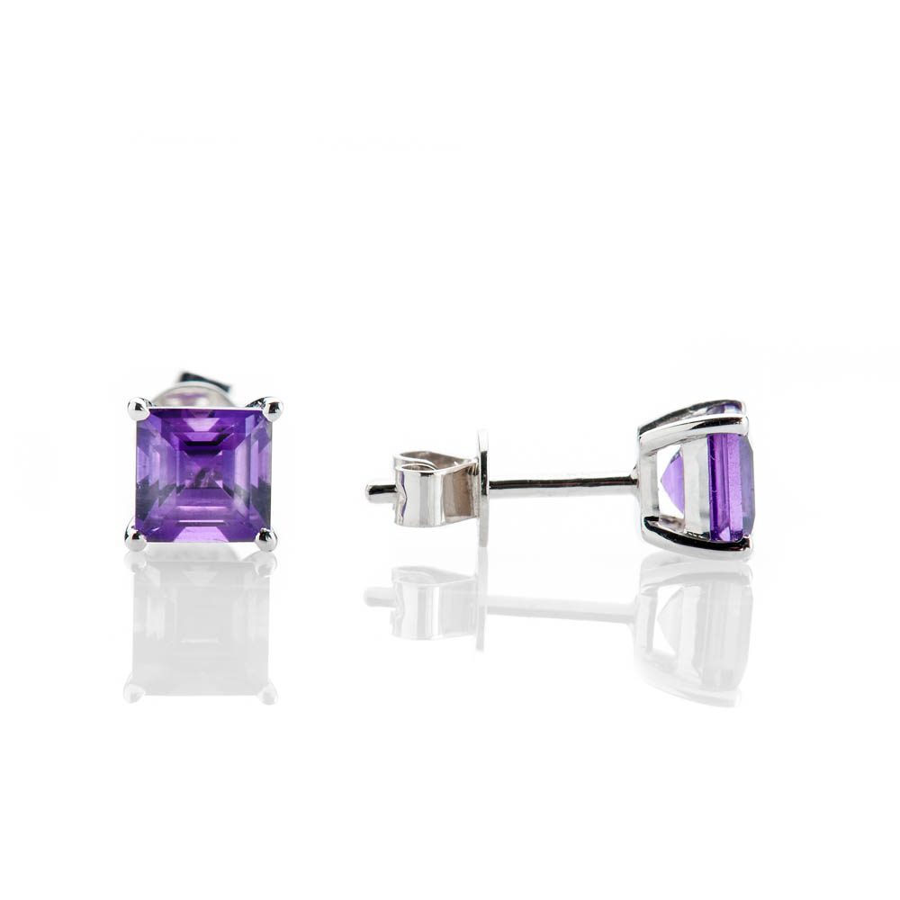 Heidi Kjeldsen Elegant Natural Square Amethyst And Gold Earstuds - ER1711-2