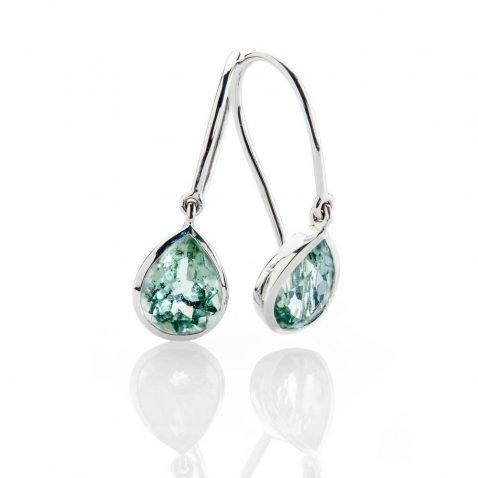 Heidi Kjeldsen Elegant Pale Green Natural Tourmaline And White Gold Drop Earrings - ER2362-3
