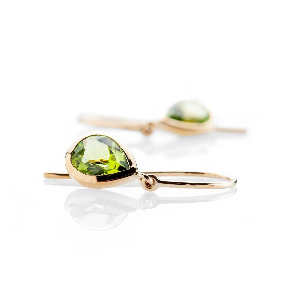 Heidi Kjeldsen Elegant Vibrant Green Natural Peridot And Gold Drop Earrings - ER2353-1