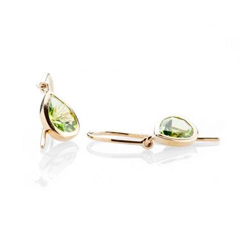 Heidi Kjeldsen Elegant Vibrant Green Natural Peridot And Gold Drop Earrings - ER2353-2