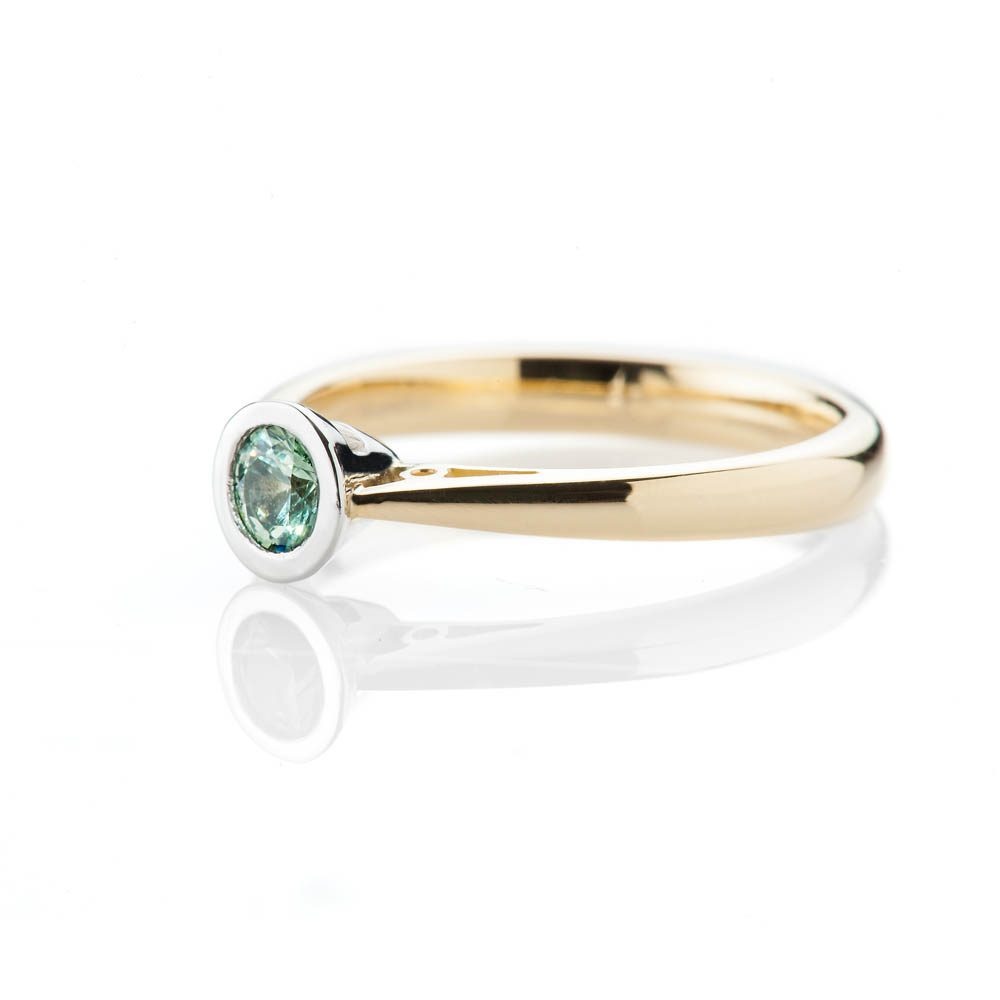 Heidi Kjeldsen Elegant Vibrant Green Natural Sapphire Platinum And Gold Engagement Or Dress Ring R1319-1