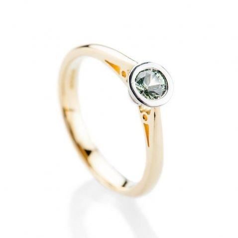 Heidi Kjeldsen Elegant Vibrant Green Natural Sapphire Platinum And Gold Engagement Or Dress Ring R1319-2