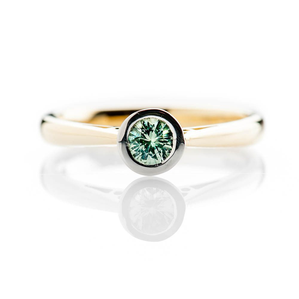 Heidi Kjeldsen Elegant Vibrant Green Natural Sapphire Platinum And Gold Engagement Or Dress Ring R1319-3