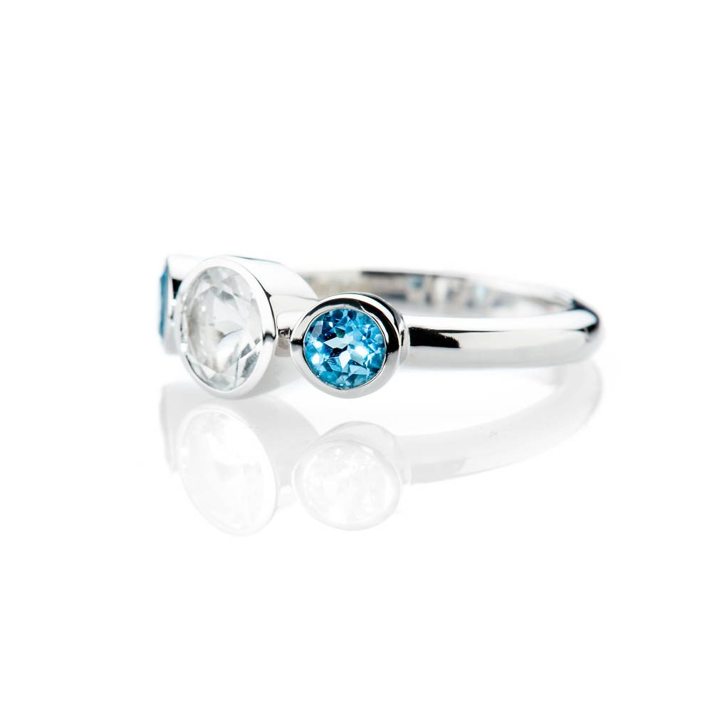 Heidi Kjeldsen Elegant White And Blue Enhanced Natural Topaz And Gold Cocktail Or Dress Ring - R1329-1
