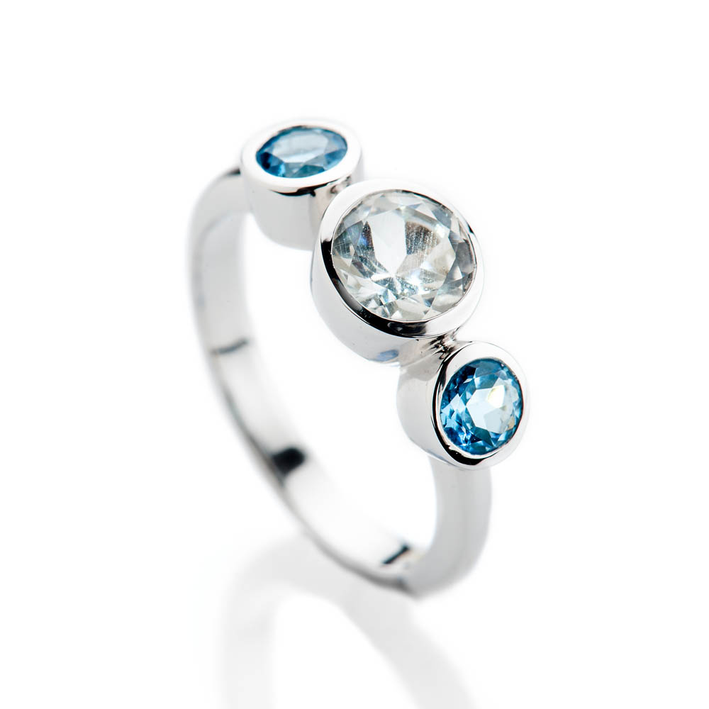 Elegant White And Enhanced Blue Natural Topaz And Gold Cocktail Or Dress Ring