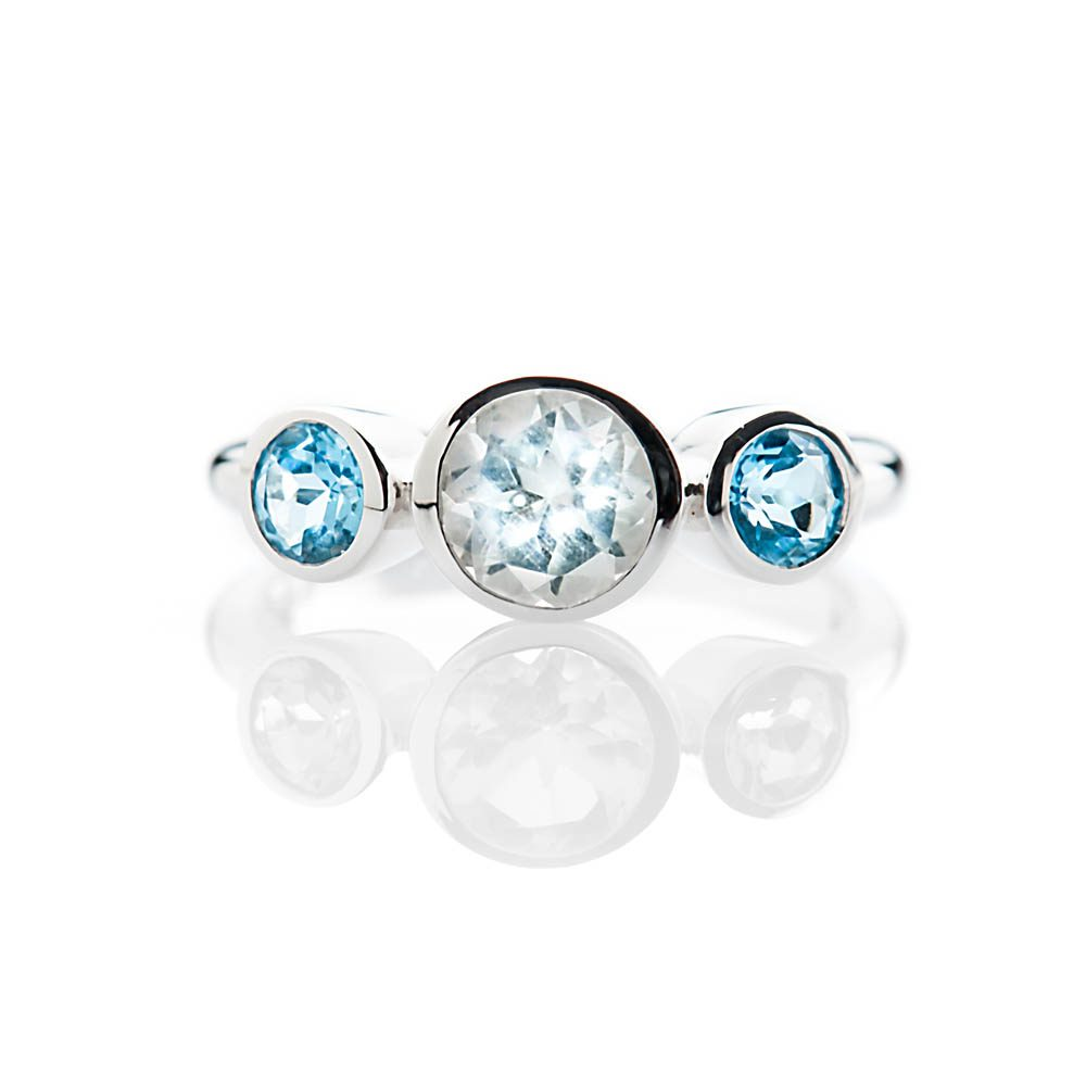 Heidi Kjeldsen Elegant White And Blue Enhanced Natural Topaz And Gold Cocktail Or Dress Ring - R1329-3