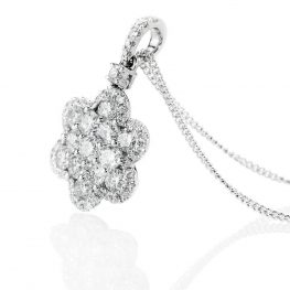 Heidi Kjeldsen Exquisite Brillant Cut Natural Diamond And Gold Flower Cluster Pendant - P1239-2