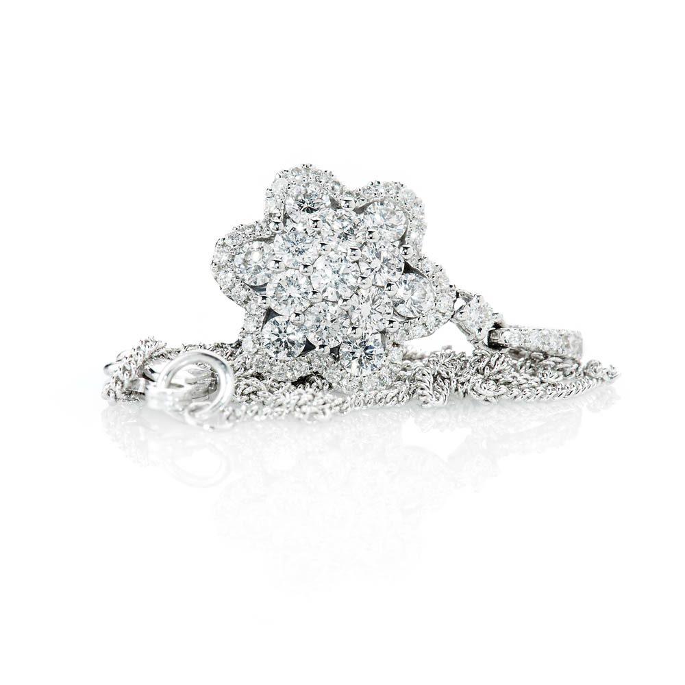 Heidi Kjeldsen Exquisite Brillant Cut Natural Diamond And Gold Flower Cluster Pendant - P1239-3