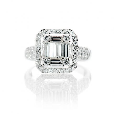 Heidi Kjeldsen Exquisite Brilliant Cut Natural Diamond And Gold Square Cluster Engagement Or Dress Ring - R1323-3
